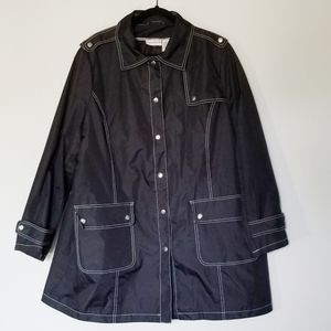 👽Jaclyn Smith Black Plus Size Buttondown Coat